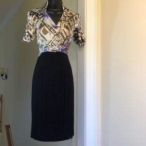 CACHE CONTOUR sz 2 print and black stretch dress